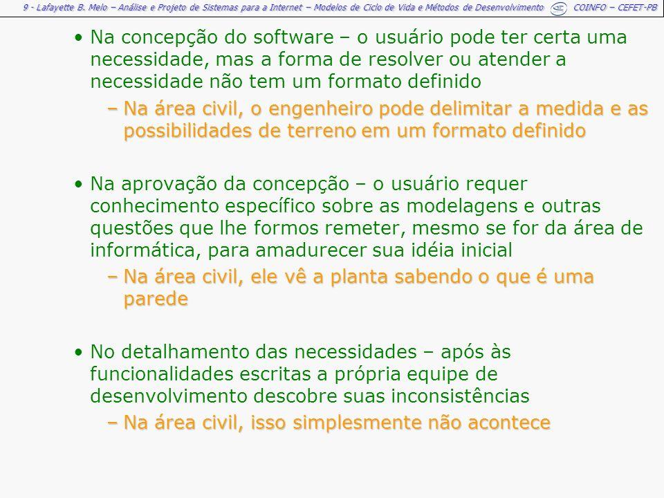 9 - Lafayette B. Melo – Análise e Projeto de Sistemas para a Internet – Modelos de Ciclo de Vida e Métodos de Desenvolvimento COINFO – CEFET-PB Na con