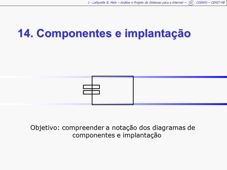 1 - Lafayette B. Melo – Análise e Projeto de Sistemas para a Internet – COINFO – CEFET-PB 14. Componentes e implantação Objetivo: compreender a notaçã