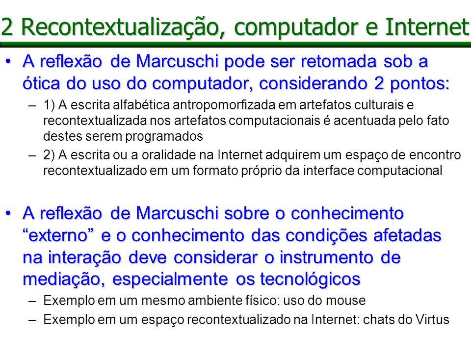 Configuração contextual de GoodwinConfiguração contextual de Goodwin –Conjunto localmente relevante de campos semióticos aos quais os participantes são demonstravelmente orientados –quando a ação é investigada em termos de configurações contextuais, domínios do fenômeno são usualmente tratados como tão distintos que são problemas sujeitos a disciplinas acadêmicas separadas A configuração contextual pode ser retomada em relação ao uso de artefatos tecnológicos (interface textual do chat)A configuração contextual pode ser retomada em relação ao uso de artefatos tecnológicos (interface textual do chat) 3 Configuração contextual na Internet