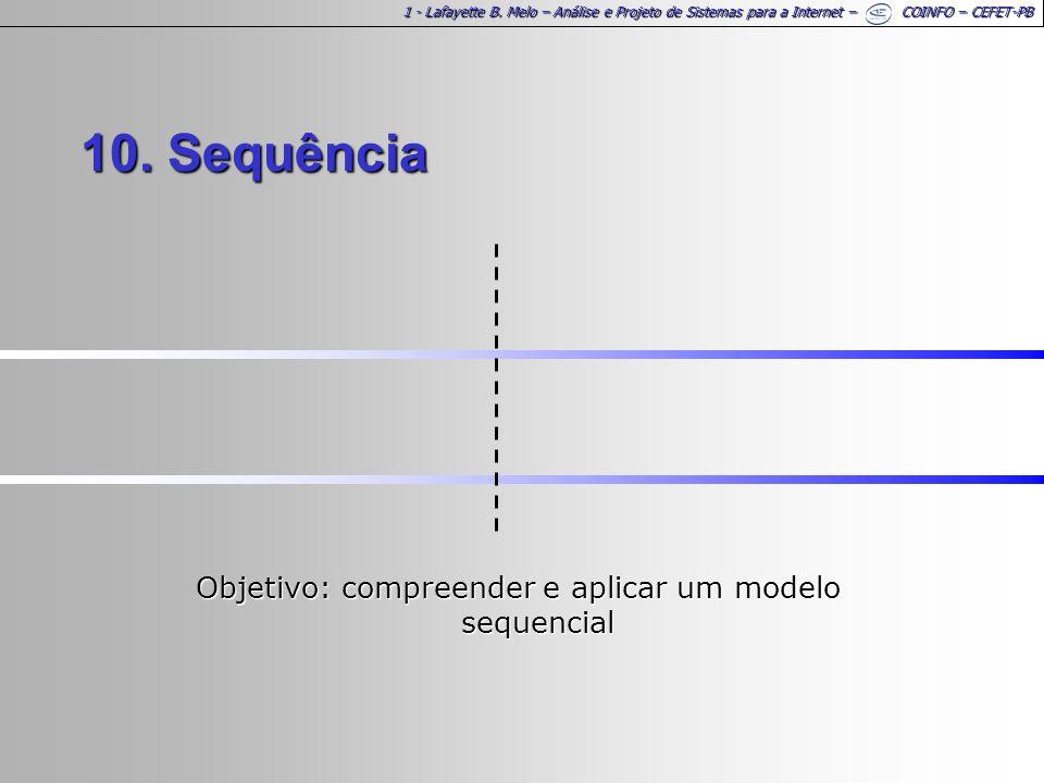1 - Lafayette B. Melo – Análise e Projeto de Sistemas para a Internet – COINFO – CEFET-PB 10. Sequência Objetivo: compreender e aplicar um modelo sequ