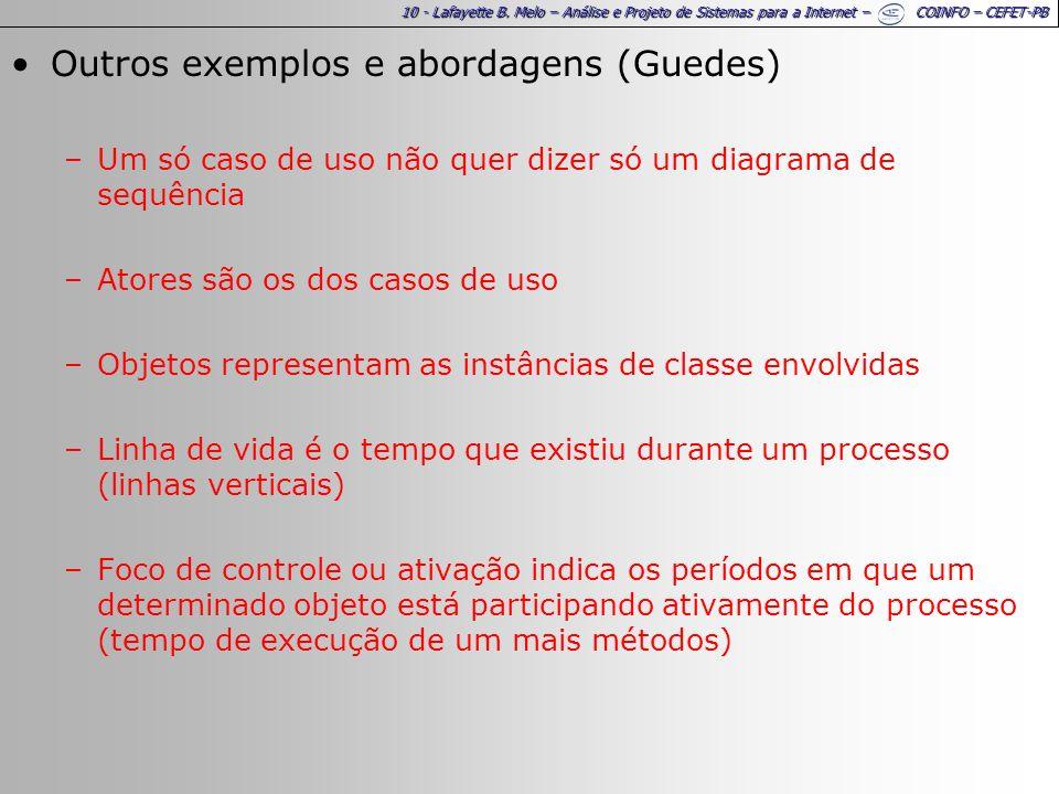 10 - Lafayette B. Melo – Análise e Projeto de Sistemas para a Internet – COINFO – CEFET-PB Outros exemplos e abordagens (Guedes) –Um só caso de uso nã