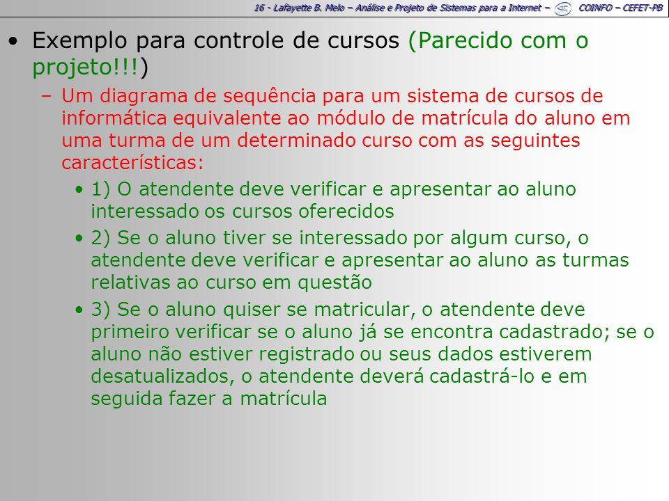 16 - Lafayette B. Melo – Análise e Projeto de Sistemas para a Internet – COINFO – CEFET-PB Exemplo para controle de cursos (Parecido com o projeto!!!)