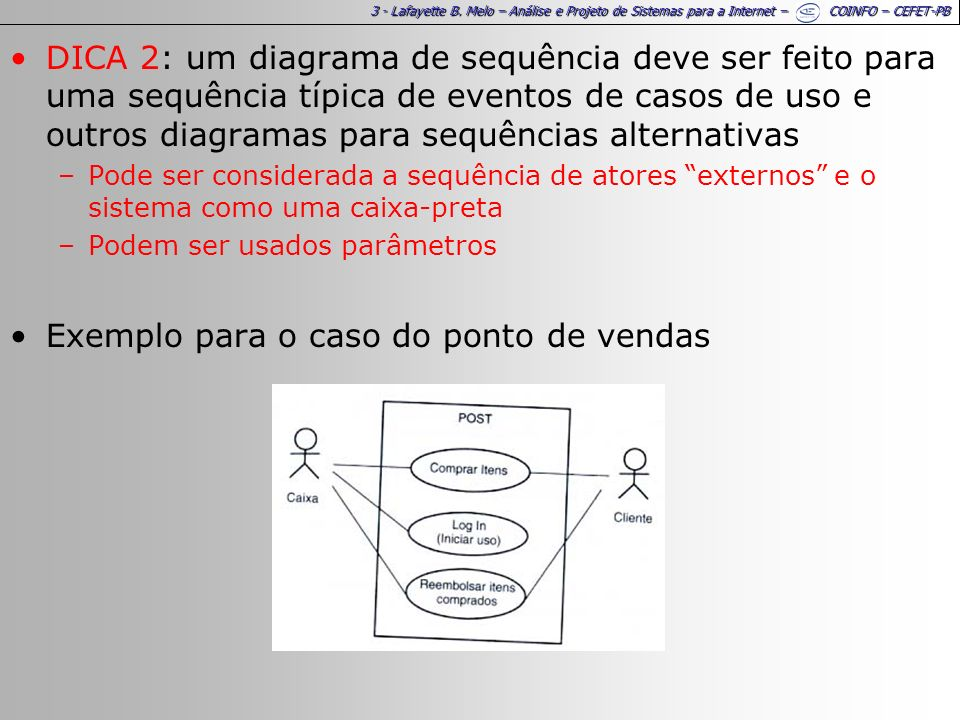 3 - Lafayette B. Melo – Análise e Projeto de Sistemas para a Internet – COINFO – CEFET-PB DICA 2: um diagrama de sequência deve ser feito para uma seq