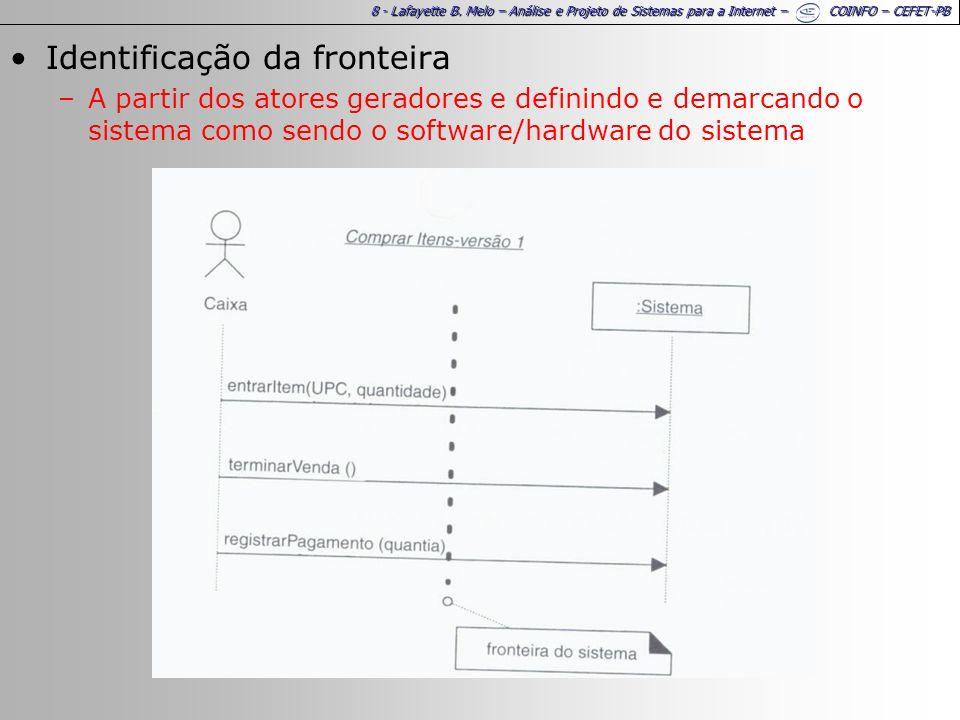 8 - Lafayette B. Melo – Análise e Projeto de Sistemas para a Internet – COINFO – CEFET-PB Identificação da fronteira –A partir dos atores geradores e