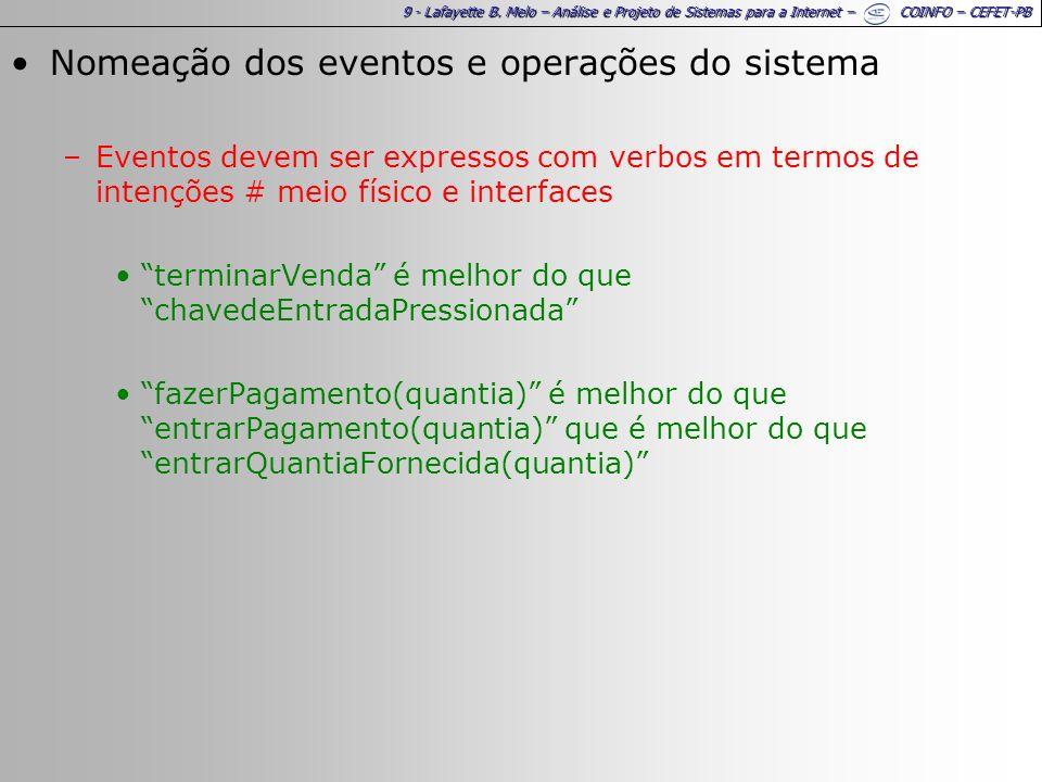 9 - Lafayette B. Melo – Análise e Projeto de Sistemas para a Internet – COINFO – CEFET-PB Nomeação dos eventos e operações do sistema –Eventos devem s