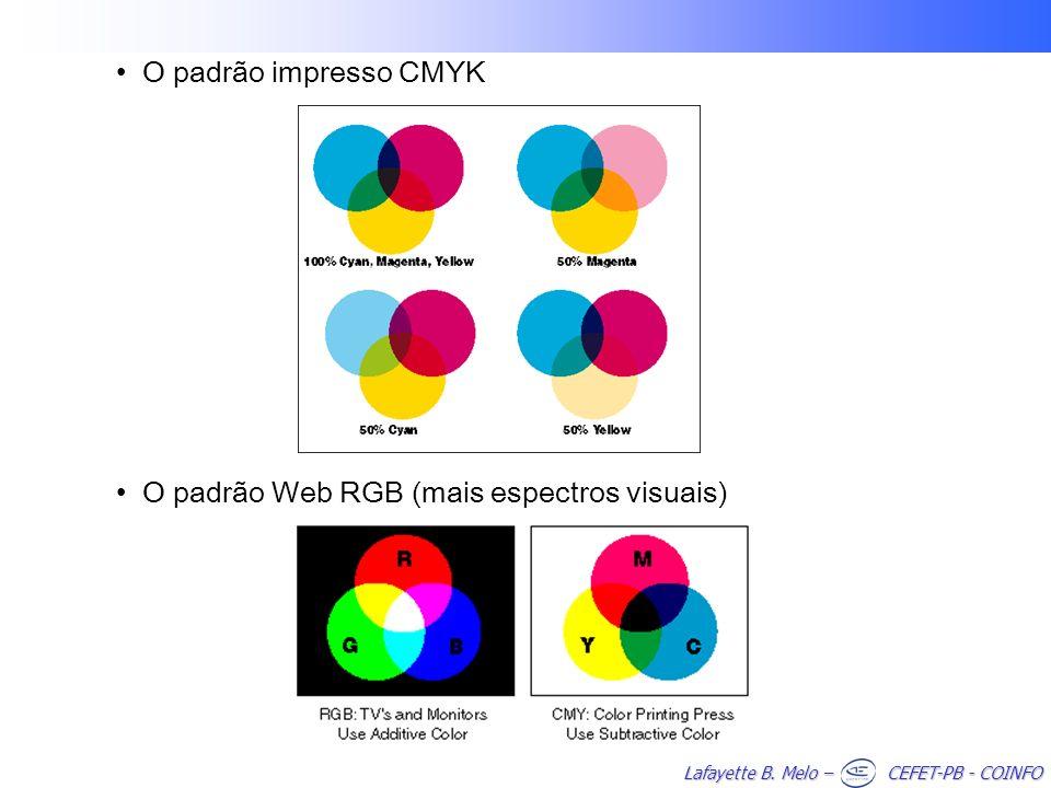 Lafayette B. Melo – CEFET-PB - COINFO O padrão impresso CMYK O padrão Web RGB (mais espectros visuais)