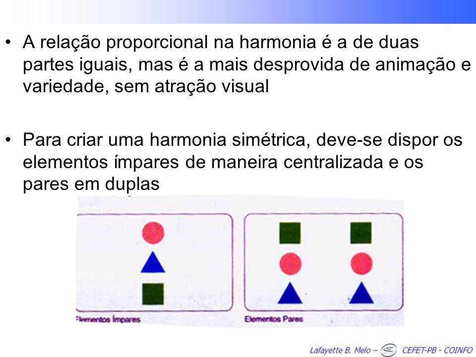 Lafayette B. Melo – CEFET-PB - COINFO A relação proporcional na harmonia é a de duas partes iguais, mas é a mais desprovida de animação e variedade, s