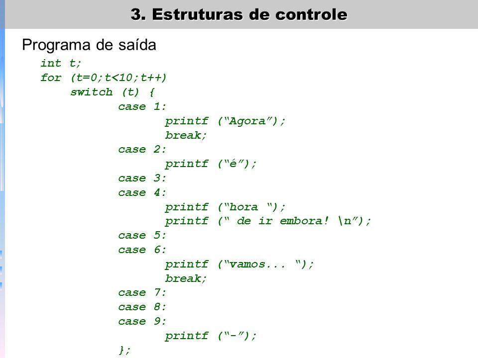 3. Estruturas de controle Programa de saída int t; for (t=0;t<10;t++) switch (t) { case 1: printf (Agora); break; case 2: printf (é); case 3: case 4:
