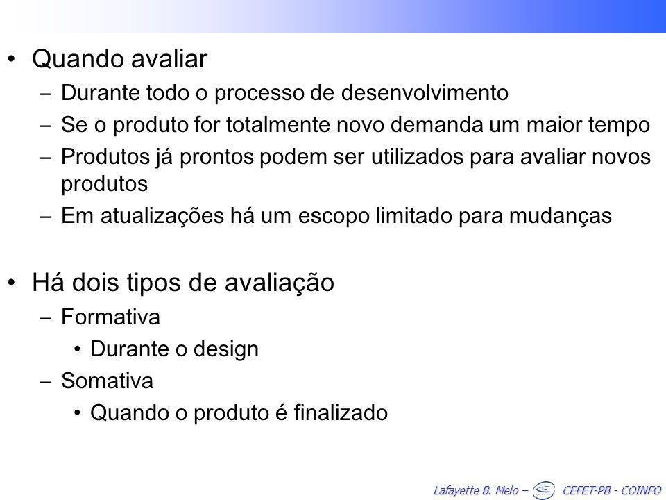 Lafayette B. Melo – CEFET-PB - COINFO Quando avaliar –Durante todo o processo de desenvolvimento –Se o produto for totalmente novo demanda um maior te