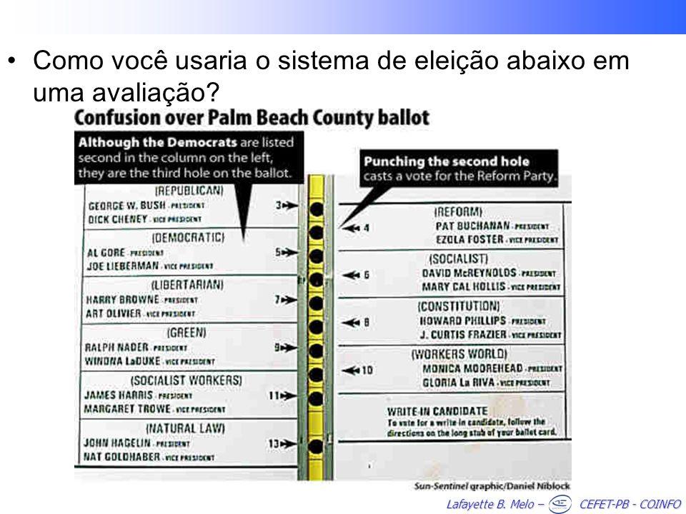 Lafayette B. Melo – CEFET-PB - COINFO Como você usaria o sistema de eleição abaixo em uma avaliação?