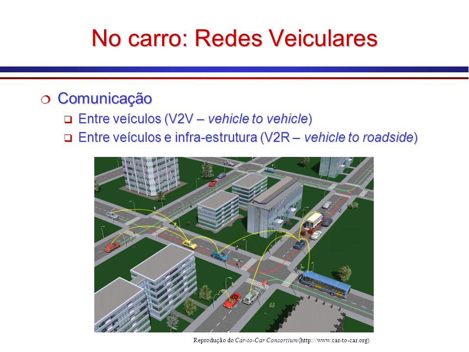 No carro: Redes Veiculares Reprodução do Car-to-Car Consortium (http://www.car-to-car.org) Comunicação Comunicação Entre veículos (V2V – vehicle to vehicle) Entre veículos (V2V – vehicle to vehicle) Entre veículos e infra-estrutura (V2R – vehicle to roadside) Entre veículos e infra-estrutura (V2R – vehicle to roadside) Comunicação Comunicação Entre veículos (V2V – vehicle to vehicle) Entre veículos (V2V – vehicle to vehicle) Entre veículos e infra-estrutura (V2R – vehicle to roadside) Entre veículos e infra-estrutura (V2R – vehicle to roadside)