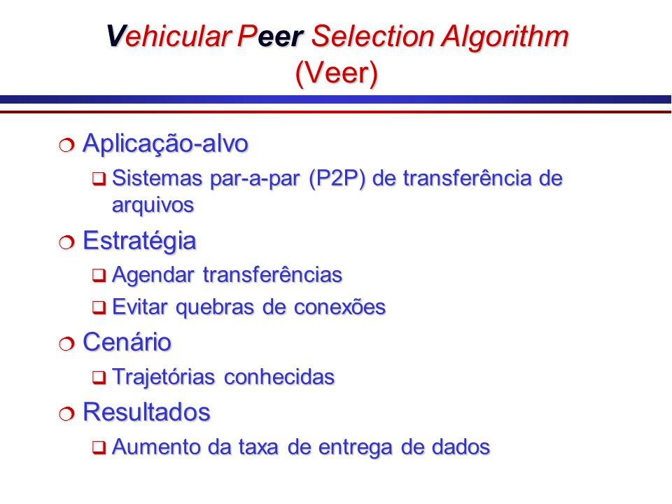 Vehicular Peer Selection Algorithm (Veer) Aplicação-alvo Aplicação-alvo Sistemas par-a-par (P2P) de transferência de arquivos Sistemas par-a-par (P2P)