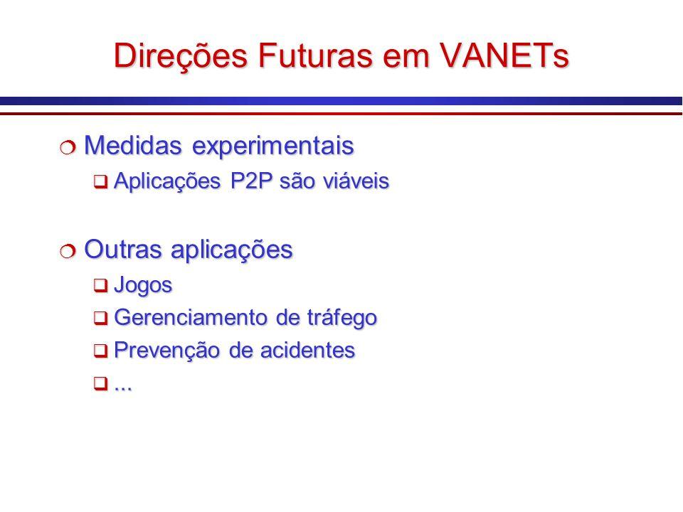 Direções Futuras em VANETs Medidas experimentais Medidas experimentais Aplicações P2P são viáveis Aplicações P2P são viáveis Outras aplicações Outras