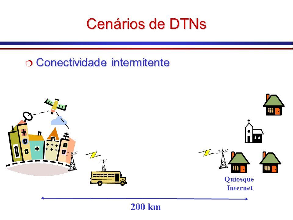 Cenários de DTNs Conectividade intermitente Conectividade intermitente 200 km Quiosque Internet