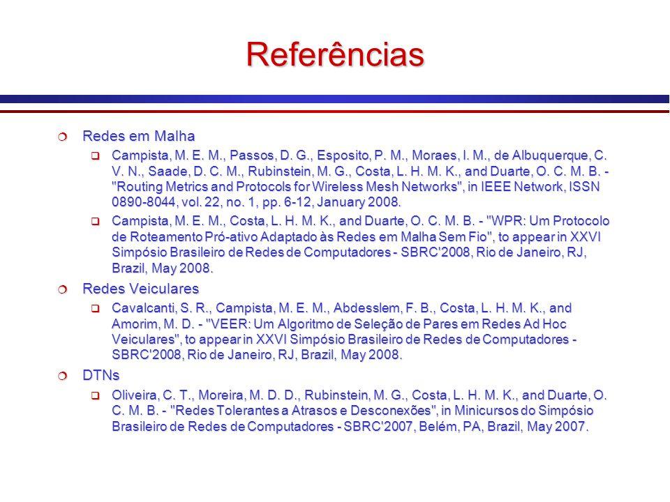 Referências Redes em Malha Redes em Malha Campista, M. E. M., Passos, D. G., Esposito, P. M., Moraes, I. M., de Albuquerque, C. V. N., Saade, D. C. M.