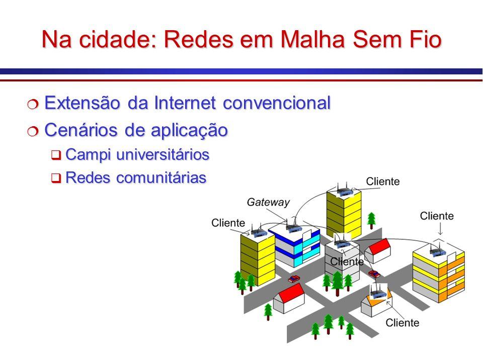 Na cidade: Redes em Malha Sem Fio Extensão da Internet convencional Extensão da Internet convencional Cenários de aplicação Cenários de aplicação Camp
