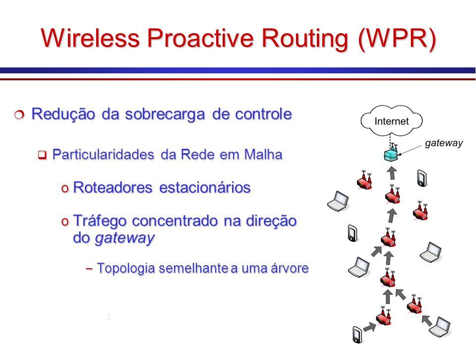 Wireless Proactive Routing (WPR) Redução da sobrecarga de controle Redução da sobrecarga de controle Particularidades da Rede em Malha Particularidade