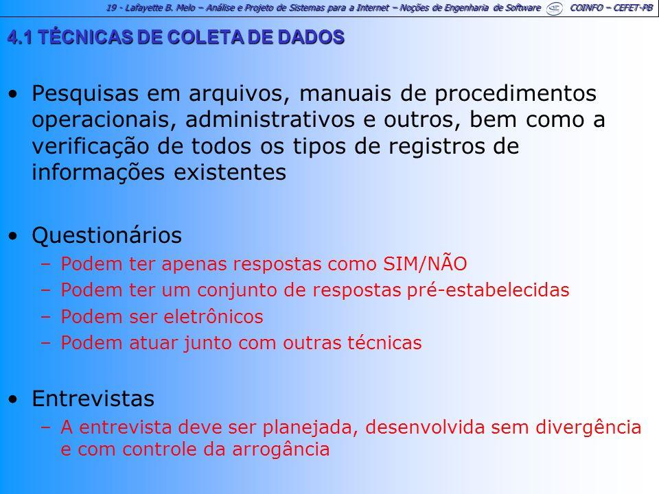 19 - Lafayette B. Melo – Análise e Projeto de Sistemas para a Internet – Noções de Engenharia de Software COINFO – CEFET-PB 4.1 TÉCNICAS DE COLETA DE