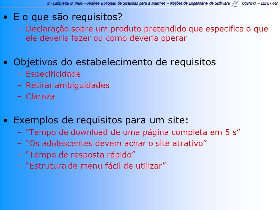 8 - Lafayette B. Melo – Análise e Projeto de Sistemas para a Internet – Noções de Engenharia de Software COINFO – CEFET-PB E o que são requisitos? –De