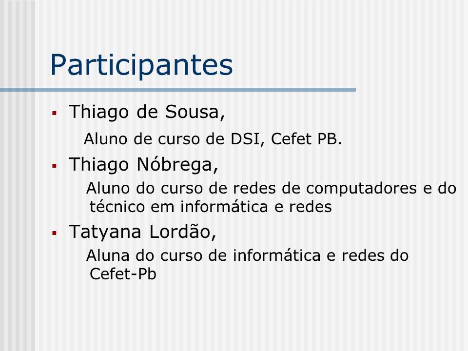 Participantes Thiago de Sousa, Aluno de curso de DSI, Cefet PB.