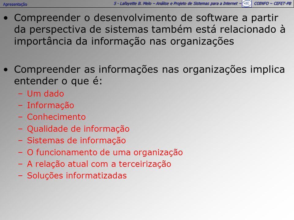 5 - Lafayette B. Melo – Análise e Projeto de Sistemas para a Internet – COINFO – CEFET-PB Compreender o desenvolvimento de software a partir da perspe