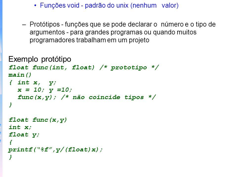 Funções void - padrão do unix (nenhum valor) –Protótipos - funções que se pode declarar o número e o tipo de argumentos - para grandes programas ou qu
