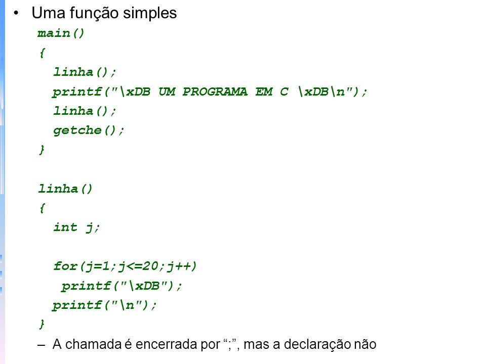 Variáveis locais: declaradas dentro de uma função ou de um bloco (existem durante a execução desse bloco de código) –Mais uso de variáveis locais f() {char ch; printf (continua (s/n).
