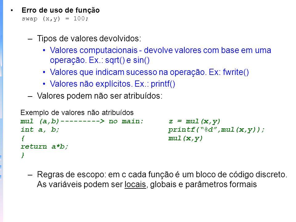 Funções void - padrão do unix (nenhum valor) –Protótipos - funções que se pode declarar o número e o tipo de argumentos - para grandes programas ou quando muitos programadores trabalham em um projeto Exemplo protótipo float func(int, float) /* prototipo */ main() {int x, y; x = 10; y =10; func(x,y); /* não coincide tipos */ } float func(x,y) int x; float y; { printf(%f,y/(float)x); }