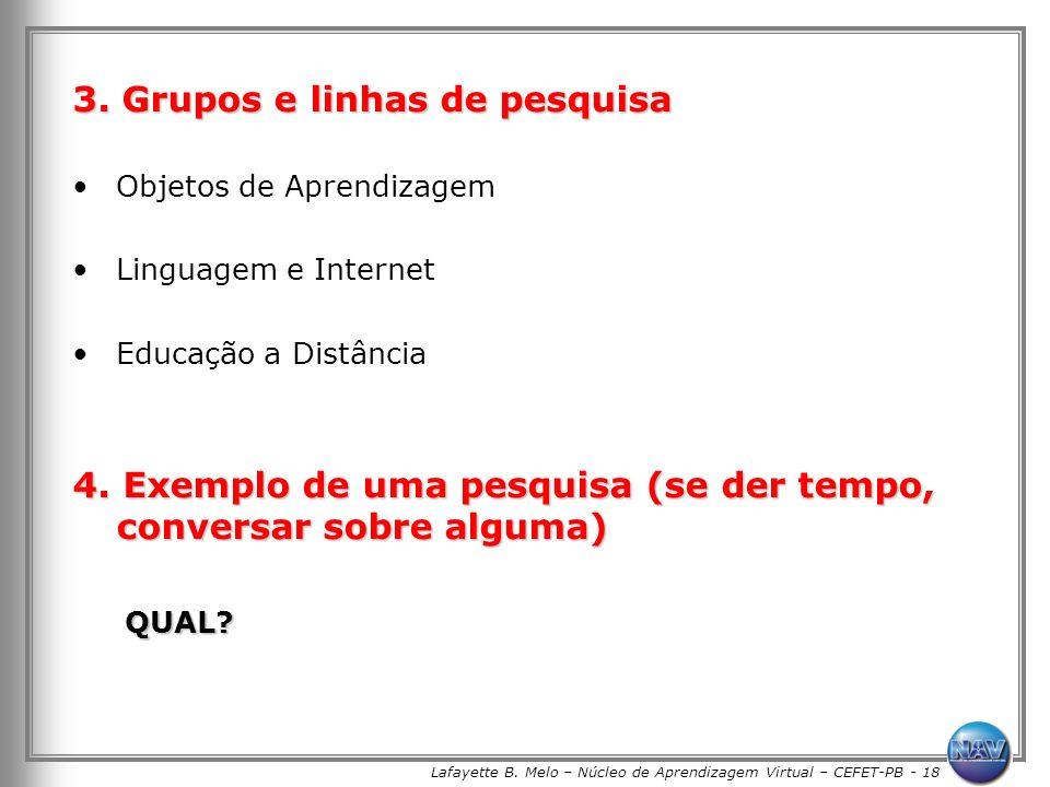 Lafayette B. Melo – Núcleo de Aprendizagem Virtual – CEFET-PB - 18 3. Grupos e linhas de pesquisa Objetos de Aprendizagem Linguagem e Internet Educaçã