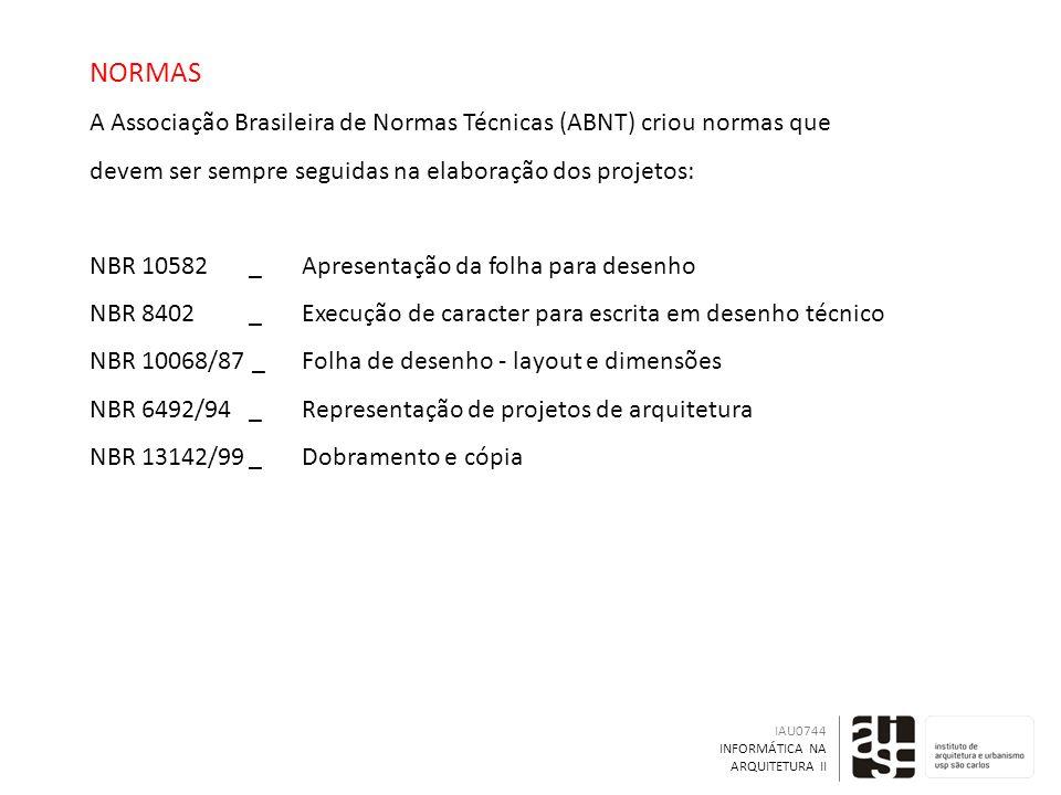 NORMAS A Associação Brasileira de Normas Técnicas (ABNT) criou normas que devem ser sempre seguidas na elaboração dos projetos: NBR 10582_Apresentação