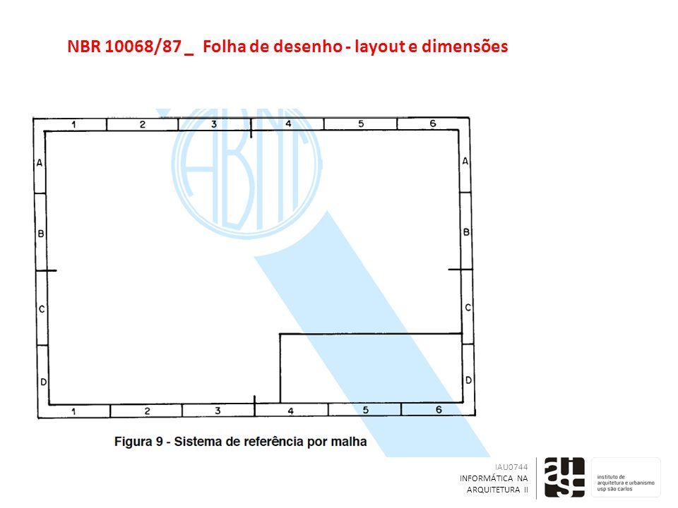 NBR 10068/87 _Folha de desenho - layout e dimensões IAU0744 INFORMÁTICA NA ARQUITETURA II