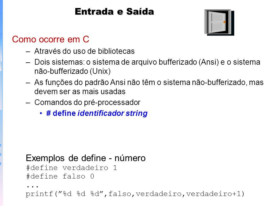 Entrada e Saída Como ocorre em C –Através do uso de bibliotecas –Dois sistemas: o sistema de arquivo bufferizado (Ansi) e o sistema não-bufferizado (U