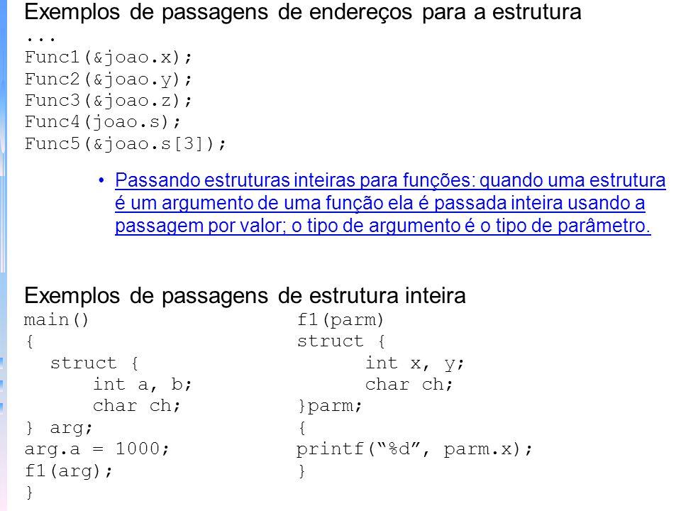 Exemplos de passagens de endereços para a estrutura... Func1(&joao.x); Func2(&joao.y); Func3(&joao.z); Func4(joao.s); Func5(&joao.s[3]); Passando estr