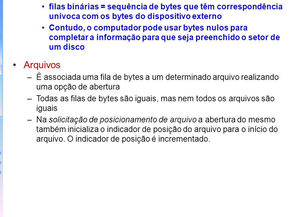 filas binárias = sequência de bytes que têm correspondência unívoca com os bytes do dispositivo externo Contudo, o computador pode usar bytes nulos pa
