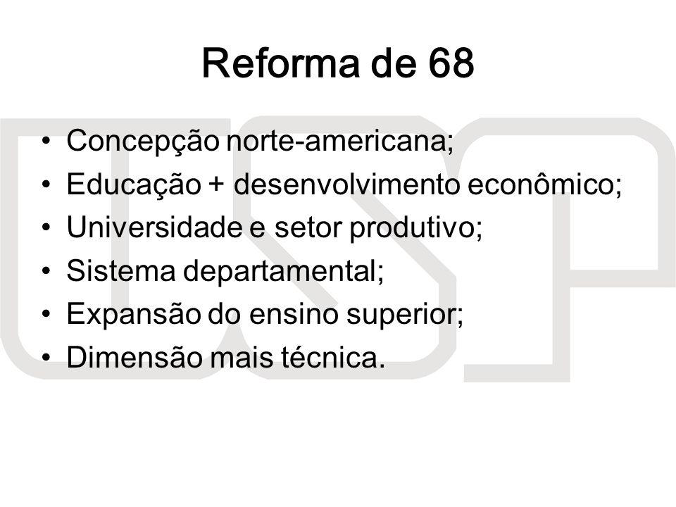 Reforma de 68 Concepção norte-americana; Educação + desenvolvimento econômico; Universidade e setor produtivo; Sistema departamental; Expansão do ensi