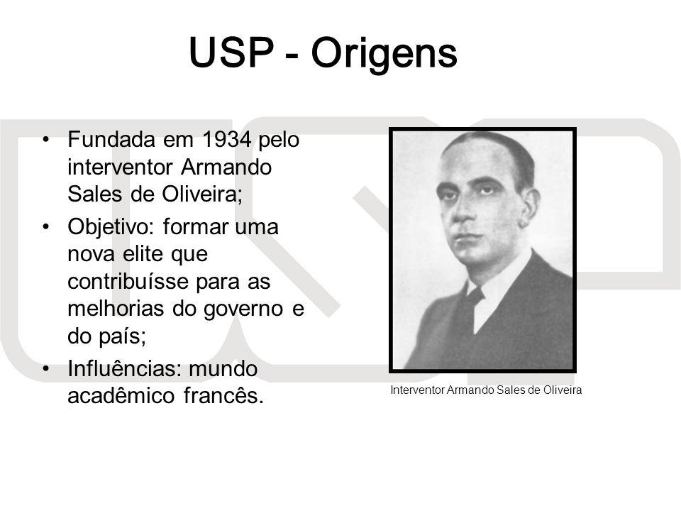 A USP surgiu da união entre as atuais FFLCH (na época, FFCL), Poli, ESALQ, Medicina, Direito, Farmácia e Odontologia (que na época eram juntas); A partir dos anos 60, a universidade foi gradualmente sendo transferida para a Cidade Universitária.