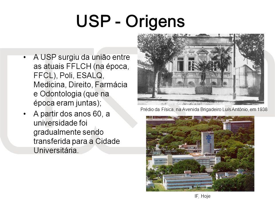 A USP surgiu da união entre as atuais FFLCH (na época, FFCL), Poli, ESALQ, Medicina, Direito, Farmácia e Odontologia (que na época eram juntas); A par
