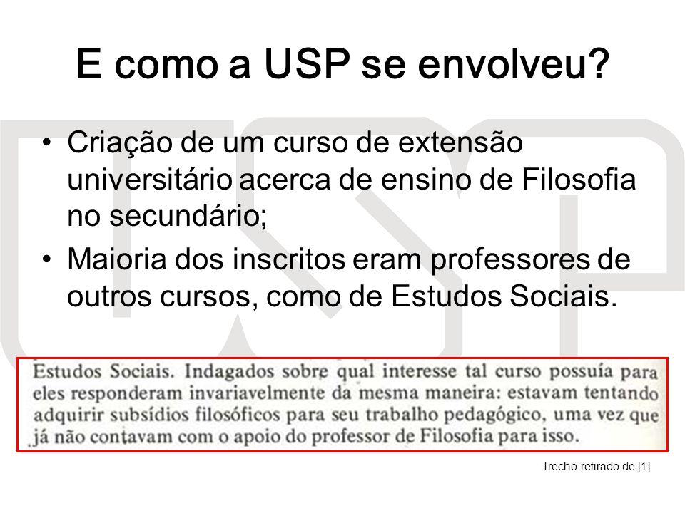 E como a USP se envolveu? Criação de um curso de extensão universitário acerca de ensino de Filosofia no secundário; Maioria dos inscritos eram profes