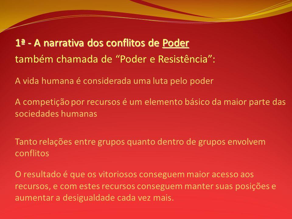 1ª - A narrativa dos conflitos de Poder também chamada de Poder e Resistência: A vida humana é considerada uma luta pelo poder A competição por recurs