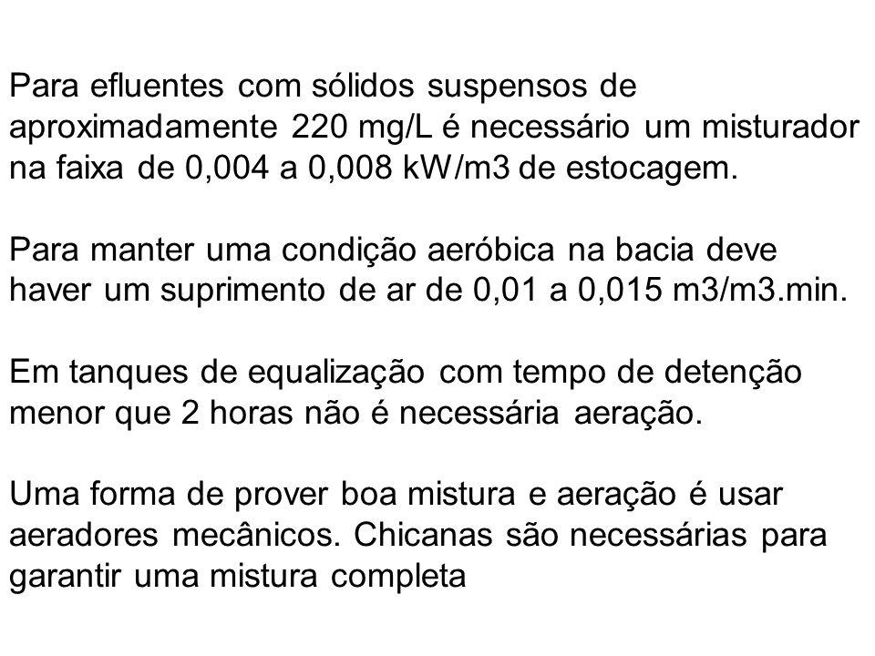 Para efluentes com sólidos suspensos de aproximadamente 220 mg/L é necessário um misturador na faixa de 0,004 a 0,008 kW/m3 de estocagem. Para manter