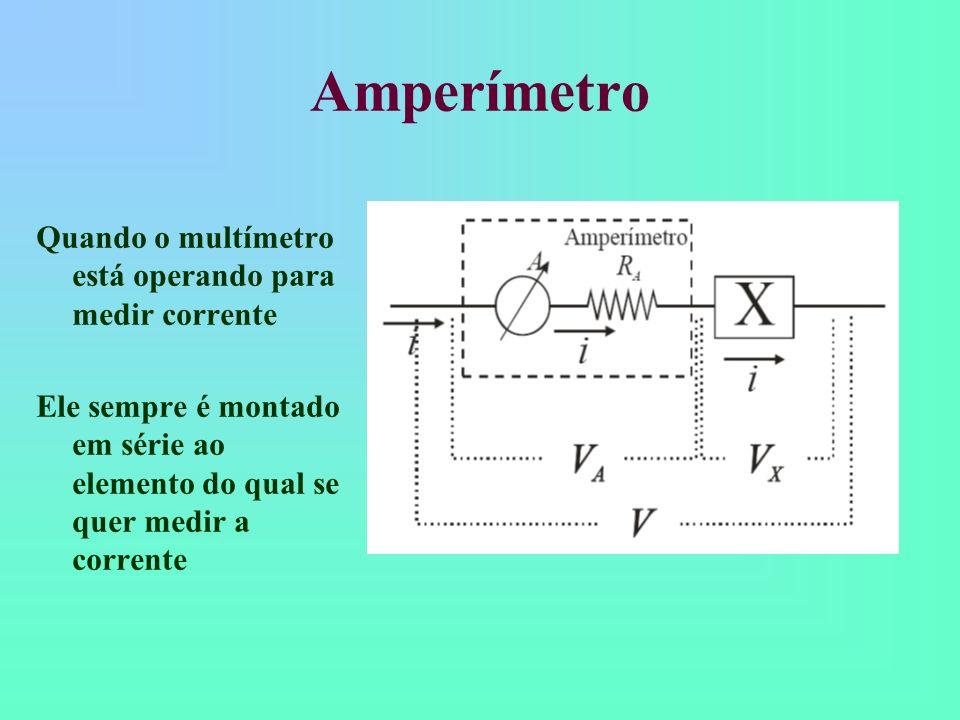 Ohmímetro Quando o multímetro está operando para medir resistência Ele sempre é montado em paralelo ao elemento do qual se quer medir a resistência e sem fonte de tensão ligada ao mesmo.