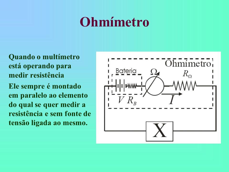 Uma conseqüência importante Voltímetros, amperímetros e ohmímetros possuem resistência Voltímetros, amperímetros e ohmímetros medem através do desvio de um pouco de corrente para o instrumento Voltímetros, amperímetros e ohmímetros MODIFICAM as tensões e correntes em um circuito.