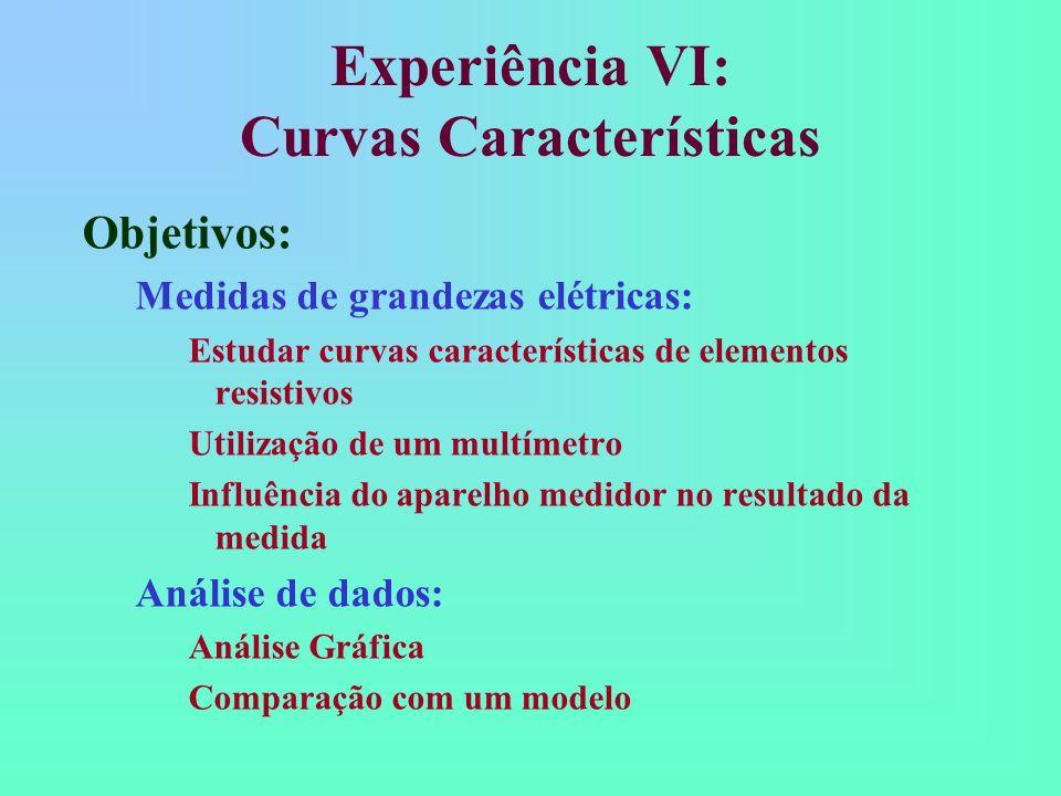 Experiência VI: Curvas Características Objetivos: Medidas de grandezas elétricas: Estudar curvas características de elementos resistivos Utilização de