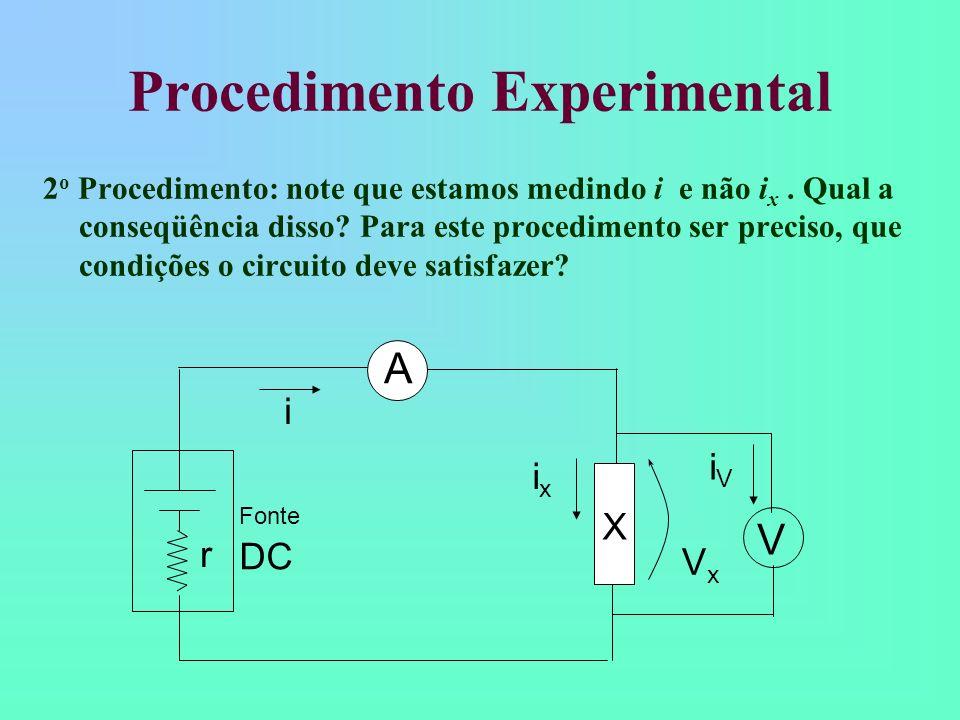 Procedimento 2 O Voltímetro possui resistência interna: A resistência, por construção, é muito grande; Provoca desvio de corrente: Se R V >> R implica em i R >> i V e A resistência medida é aproximadamente igual a R