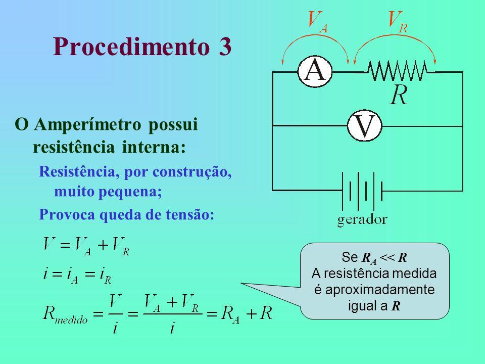 Procedimento 3 O Amperímetro possui resistência interna: Resistência, por construção, muito pequena; Provoca queda de tensão: Se R A << R A resistênci