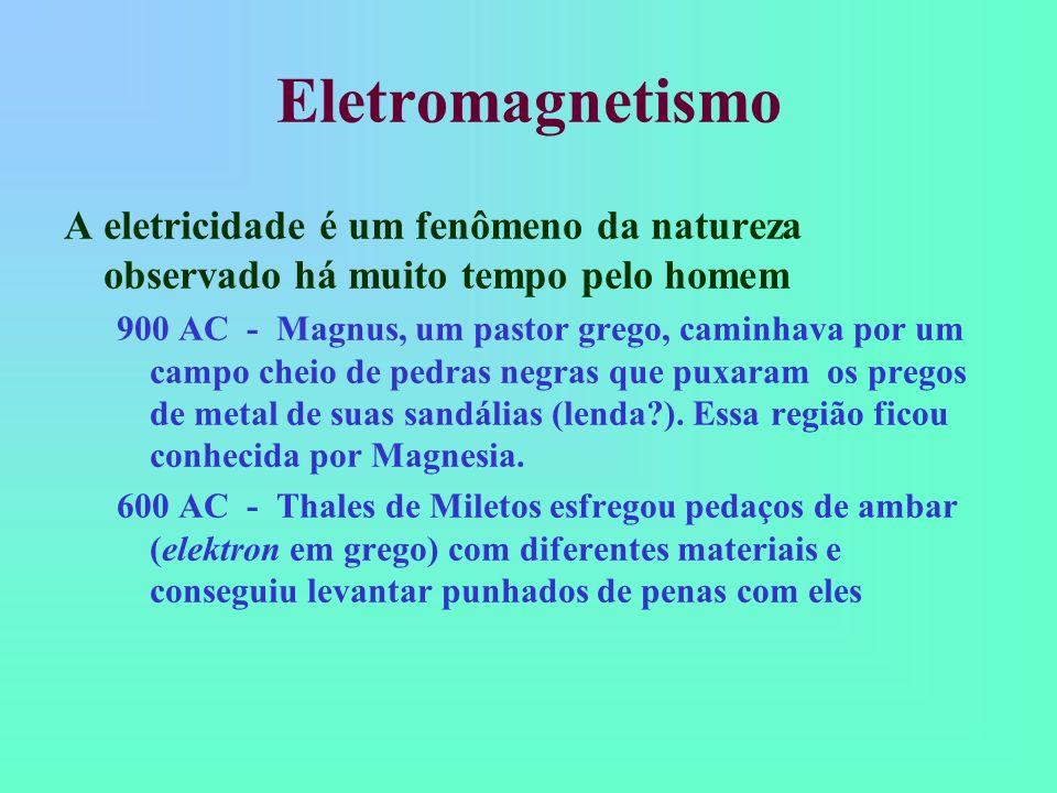Eletromagnetismo Seu estudo sempre envolveu a observação de fenômenos e a elaboração de leis empíricas Somente no século XIX que os fenômenos eletromagnéticos foram completamente compreendidos a partir de leis quantitativas básicas com os trabalhos de Maxwell É um ótimo exemplo de como a física evolui a partir da experimentação
