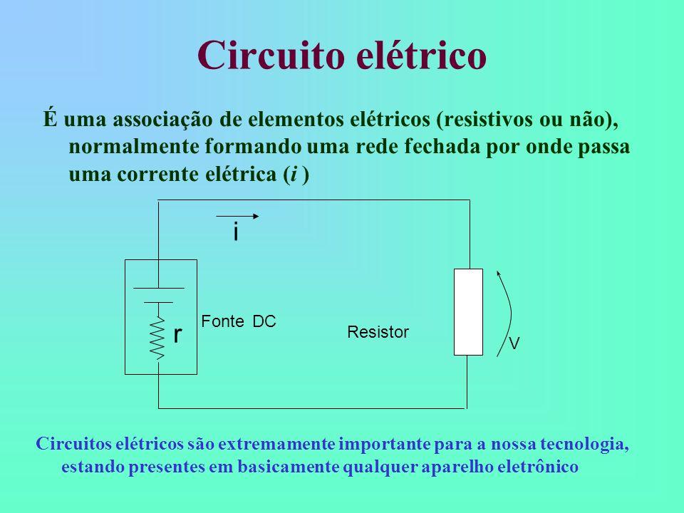 Leis de Kirchhoff A soma das tensões em todos os elementos do circuito fechado são iguais a zero; A soma das correntes em um nó do circuito é igual a zero; Fonte DC i r V 1 + V 2 = 0 i + i 1 + i 2 = 0 V1V1 V2V2 i2i2 i1i1 R1R1 R2R2