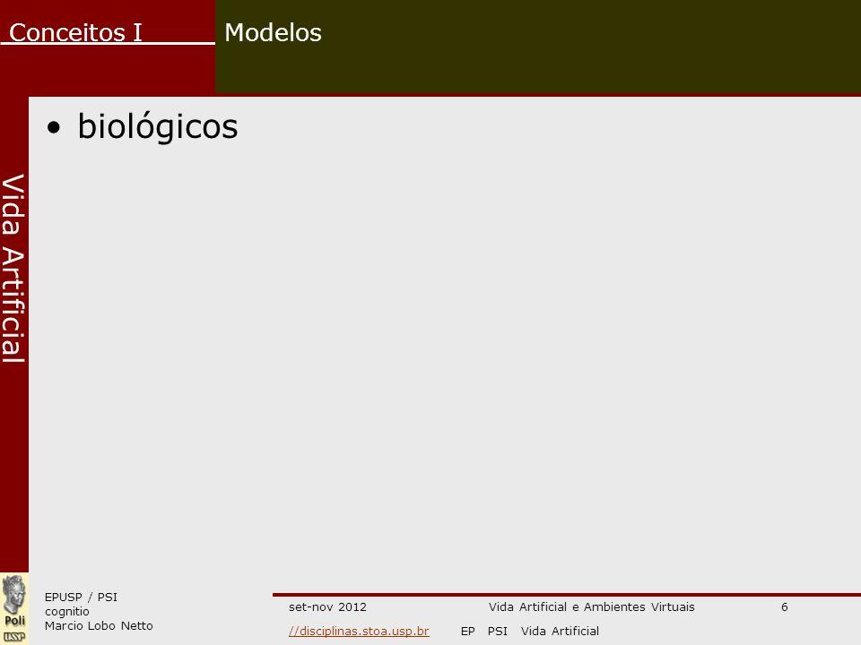 EPUSP / PSI cognitio Marcio Lobo Netto Conceitos I //disciplinas.stoa.usp.br//disciplinas.stoa.usp.brEP PSI Vida Artificial Vida Artificial set-nov 2012 Modelos físicos/químicos Vida Artificial e Ambientes Virtuais7