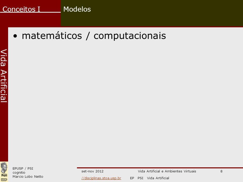 EPUSP / PSI cognitio Marcio Lobo Netto Conceitos I //disciplinas.stoa.usp.br//disciplinas.stoa.usp.brEP PSI Vida Artificial Vida Artificial set-nov 2012 Modelos matemáticos / computacionais Vida Artificial e Ambientes Virtuais8