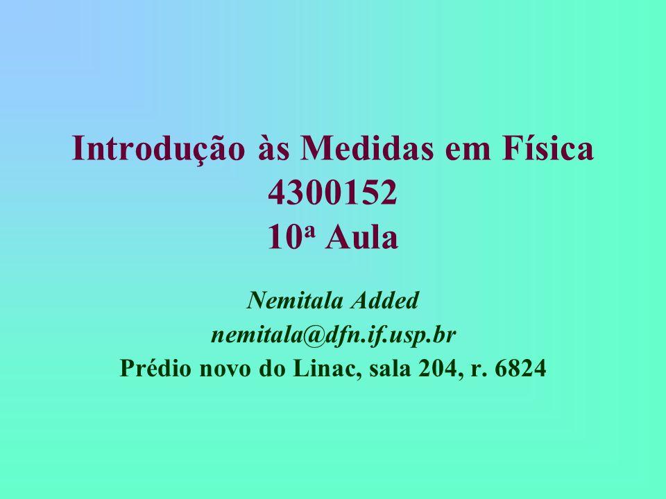 Introdução às Medidas em Física 4300152 10 a Aula Nemitala Added nemitala@dfn.if.usp.br Prédio novo do Linac, sala 204, r. 6824